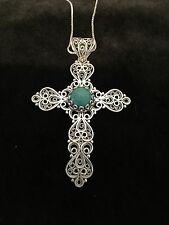 "Sterling Silver .925 Open Filigree Turquoise Large Cross Pendant with 18"" chain"