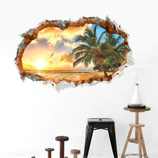 3D Beach Sunshine Scene Wall Stickers Decals for Home Bedroom Decoration