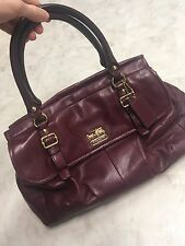 COACH Madison Leather Flap Carryall Satchel 18621 Bordeaux Red Wine Euc Msrp 499