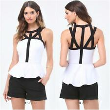 BEBE WHITE BLACK CAGE DETAIL PEPLUM NEW NWT TOP SHIRT $69 SMALL S