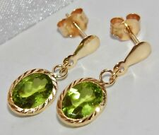 Beautiful 9ct Yellow Gold 2.40ct Natural Peridot Ladies Dropper Stud Earrings