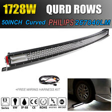 8D+ Quad-row 50Inch 1728W CREE Curved LED Work Light Bar Spot Flood For Jeep SUV