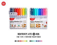 Monami Permanent Fabric Art Marker A set, 16 Colors, For drawing DIY on Fabric.