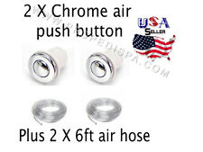 2 x Universal Chrome air push button / switch w6 ft hose for pedicure spa chair