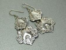 Vintage Sterling Silver 925 Estate Jewelry Repousse Luggage Tag Dangle Earrings