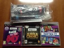Ps3 SINGSTAR Games ABBA + FAMILY HITS + BACK TO 80S + 2 Wireless Microphones