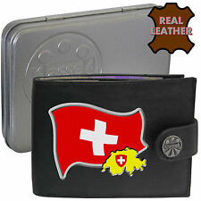 SWITZERLAND Mens Leather Wallet SWISS Flag map and Emblem Mans gift Suisse