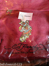 ED HARDY RED CANVAS BAG 100% authentic  cross body GEISHER CHRISTIAN AUDIGIER