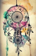 DREAM CATCHER WATERCOLOUR IMAGE  A4 Poster Laminated