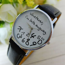 Fashion Black&White Women's Whatever I'm Late Anyway Leather Wirst Watch