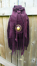 Leather Suede Purple Rucksack tassle Festival Boho Bag