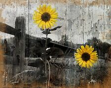 Rustic Sunflower Country/Farmhouse Home Wall Art Decor Matted Picture