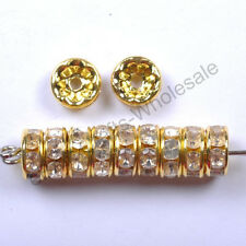 Wholesale 100pcs Quality Crystal Rhinestone Silver Rondelle Round Spacer Beads