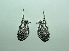 BEAUTIFUL EASTERN FILIGREE WINE JUG SILVER PLATED DROP EARRINGS ALADIN'S LAMP