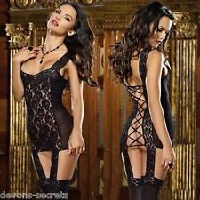 Ladies sexy black lace lingerie mini dress outfit set size 8 - 10 babydoll  DS26