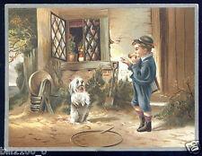 chromo ancienne . chien dressé . dog