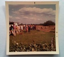 Vintage 60s Photo Outdoor Gathering Dachshund Sniffing Grass Hogs Pigs Grazing