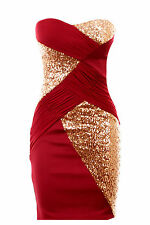 New Ladies Boobtube Sequin Cross Contrast Plain Back Bodycon Women's Party Dress