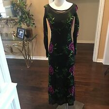 Vtg 90s BETSEY JOHNSON Black Mesh Embroidered Goth Festival Maxi Dress S USA