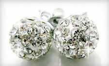 New 8mm Swarovski Element Round Crystal Pave Disco Ball Sterling Silver Earrings