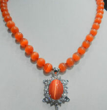 "HOT 8mm Orange Sri Lanka Moonstone Gems Tortoise Pendant Necklace 18""AAA"