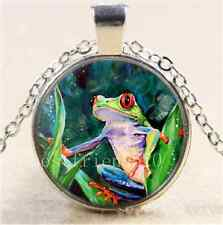 Jungle Tree Frog Cabochon Photo Glass Tibet Silver Chain Pendant Necklace