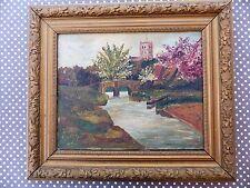 HUILE sur TOILE Peinture ancienne paysage ENCADREE Cadre Glands tableau signé