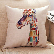 GIRAFFE HEAD Cotton-Linen Canvas New CUSHION COVER Natural Classic Case, UK Sale