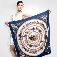 """Women Navy Blue Vintage Horse Carriage Printed Silk Square Shawl Scarf 39""""*39"""""""