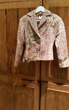 RENATO NUCCI JACKET SKIRT MULTI COLOUR BOUCLE SUIT WITH EMBELLISHMENT, UK SIZE 6