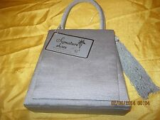 Alfa New Grosgrain purse evening bag Sq.  flap side tassel lg strap Grey sliver