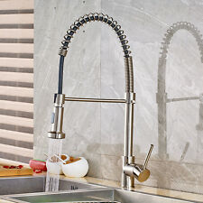 Pull Out Spray Brushed Nickel  Kitchen Faucet Swivel Spout Sink Mixer Tap