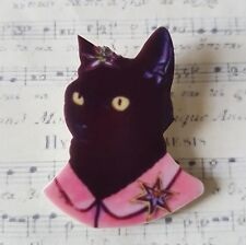 KoOkY qUiRkY PRINTED ACRYLIC BLACK KITTY CAT IN CLOTHES BROOCH PIN 4cm (40mm)