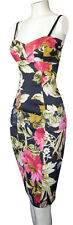 KAREN MILLEN VERY RARE NAVY BLUE & TROPICAL PRINT CORSET DRESS SZ 14 BNWT