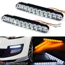 2x 30 LED Car Truck White Daytime Running Light DRL Fog light +Amber Turn Signal