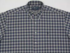 Mens Polo Ralph Lauren L/S BLAKE  Cotton Oxford BLUE Plaid Large  MINT