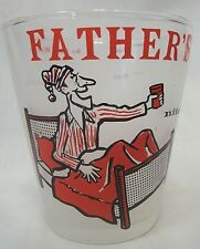VINTAGE BAR FROST GLASS CARTOON FATHER'S 'NITE CAP' WHIMSICAL MEASURES ON BACK