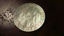 ANTIQUE CHINESE MOTHER OF PEARL GAMING COUNTER (1) CHIP...FLOWER DESIGN