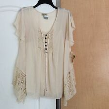 New One World - Cream Sheer With Cami/lace Women Tunic Top Plus Size 1X
