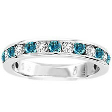 14K Ladies Blue/White Diamond Wedding Band Ring 1/2 Ct