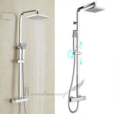Luxury Thermostatic Square Shower & Hand Held Shower Mixer Twin Head Set Chrome