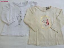 Tape à l'oeil***Lot de 2 T-shirt 9 mois manches longues Blanc Beige Fox/Moon