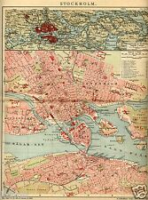 1903= STOCCOLMA= ANTICA MAPPA= OLD MAP