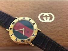 GUCCI 3000L Classic Gold Red Green Brown Stripe Leather Band Wrist Watch