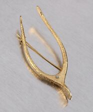 VTG 1960s 1970s VANS AUTHENTICS LARGE GOLD BRUSHED WISHBONE BROOCH PIN SIGNED