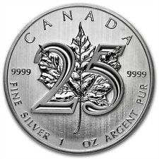 1 oz 999 Maple Leaf 2013 25th Anniversary Silver Silver coin Bullion new Top