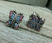 2PC Sparkling Crystal Rhinestone BUTTERFLY Purple & Pink European Charms Beads