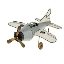 Vintage Tin Metal Fighter Military Aircraft Airplane Home Decor Toy White
