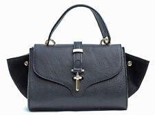 Made in Italy ! Nappa Leder Tasche Handtasche Schwarz wunderschönes Design !