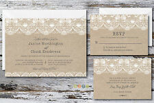100 Personalized Burlap Lace Wedding Invitation Suite with Envelopes